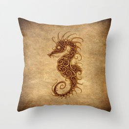 Aged Vintage Intricate Tribal Seahorse Design Throw Pillow