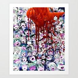 Ahegao Hentai Manga Anime Multicolor Girls Collage Halloween Art Print