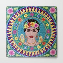 Fabulous Frida Mandala Metal Print