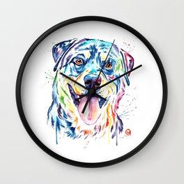 Rottweiler Pet Portrait Colourful Watercolor Painting Wall Clock