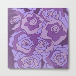 Lavender Dreams Roses - Mixed with Dark Outline Metal Print