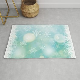 Blue Snowflakes Blur Lights Snowing Modern Winter Pattern Rug