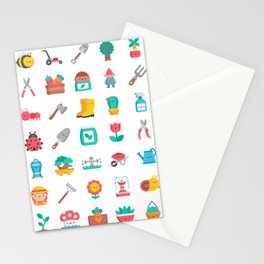 CUTE GARDENING PATTERN Stationery Cards