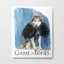 Game of Bones John as a Husky Metal Print