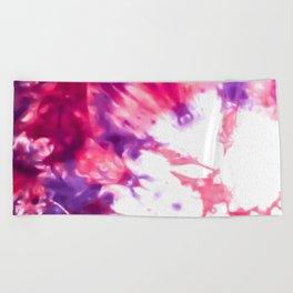 Modern Artsy Abstract Neon Pink Purple Tie Dye Beach Towel