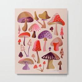 Mushroom Collection – Pink Metal Print