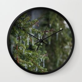 Leafy Icicle Bokeh Wall Clock