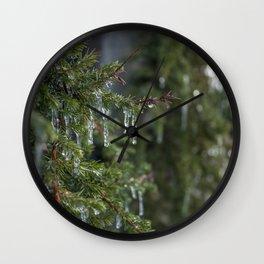 Leafy Icicle Bokeh Wall Clock