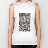 newspaper Biker Tanks featuring - newspaper - by Magdalla Del Fresto