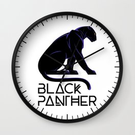 Black Panther Art Deco in White Wall Clock