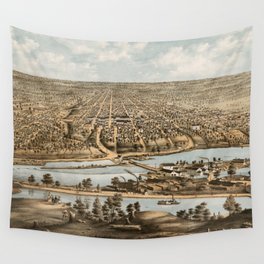 Vintage Pictorial Map of Appleton WI (1874) Wall Tapestry