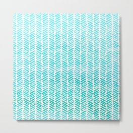 Handpainted Chevron pattern - small - light green and aqua teal Metal Print