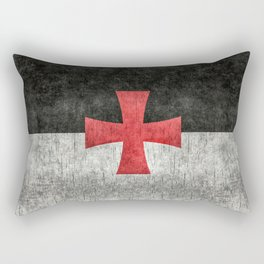 Knights Templar Flag in Super Grunge Rectangular Pillow