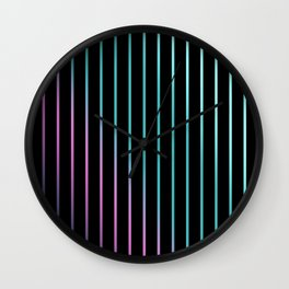 Rainbow . Striped rainbow pattern . Black background pattern Wall Clock