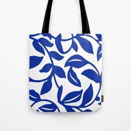 PALM LEAF VINE SWIRL BLUE AND WHITE PATTERN Tote Bag