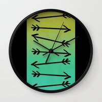 arrows Wall Clocks featuring Arrows by Leah Flores