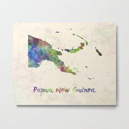 Papua New Guinea in watercolor Metal Print