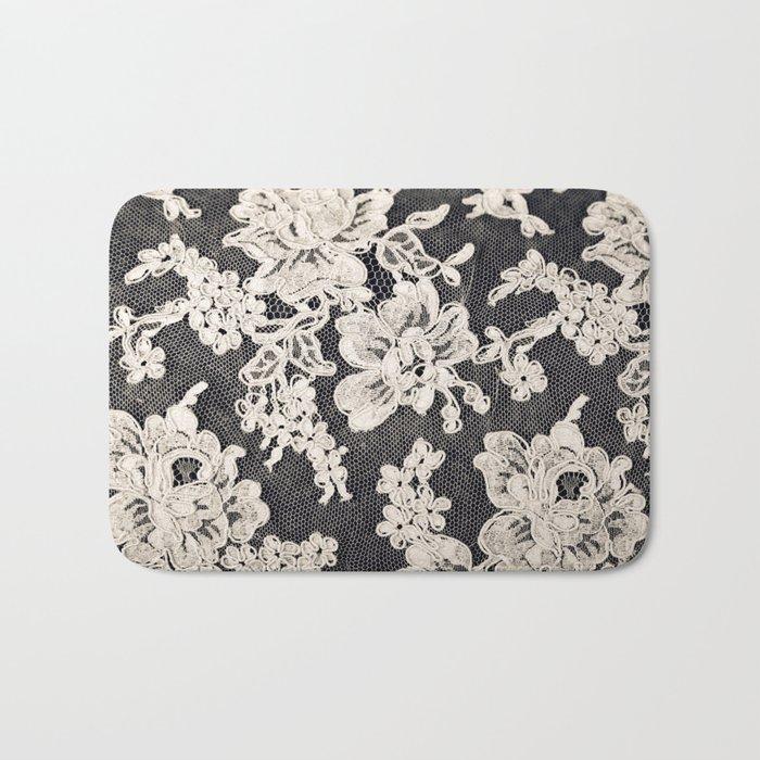 black and white lace- Photograph of vintage lace Bath Mat