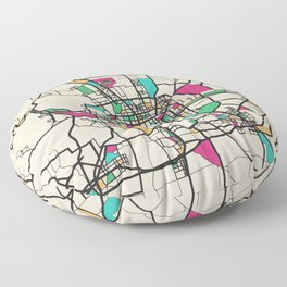 Colorful City Maps: Beijing, China Floor Pillow