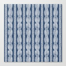 Cable Knit Navy Canvas Print