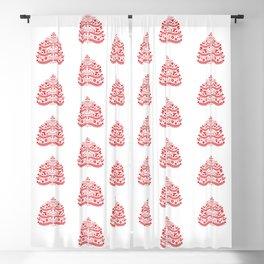 Red Scandinavian Folk Art Christmas Tree Blackout Curtain