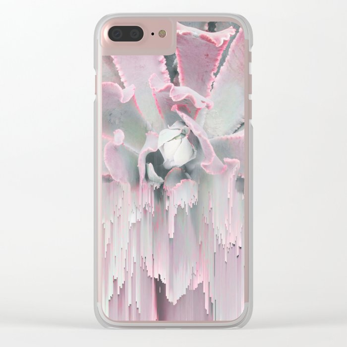 Sweet Pink Succulent Glitches Clear iPhone Case