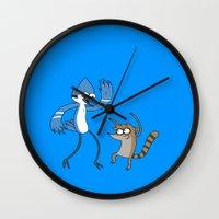 regular show Wall Clocks featuring Regular show by Duitk
