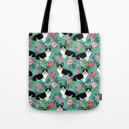 Tricolored Corgi Hawaiian Print corgi summer tropical palms hibiscus flowers Tote Bag