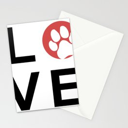 "Animal Recue - LOVE with Paw Print ""O"" Stationery Cards"