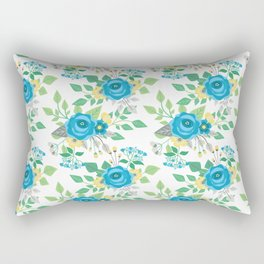 Blue Roses & Forget-Me-Nots Rectangular Pillow