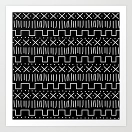 Black Mud Cloth Art Print