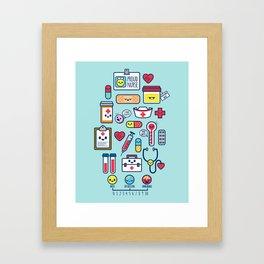 Proud To Be a Nurse Pattern / Blue Framed Art Print