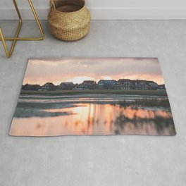 houses, river, clouds, sunset, juist, germany Rug