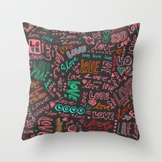 Love Love Love - ballpoint doodles - 2 Throw Pillow