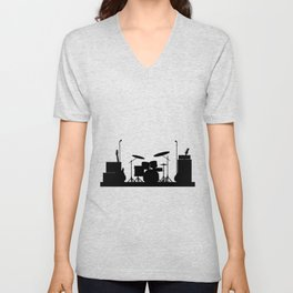 Rock Band Equipment Silhouette Unisex V-Neck