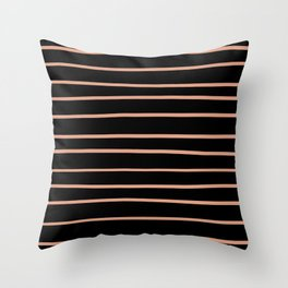 Pratt and Lambert Earthen Trail 4-26 Hand Drawn Horizontal Lines on Black Throw Pillow