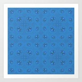 Modern Tribal Blue Geometric Pop Art Print