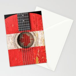 Old Vintage Acoustic Guitar with Canadian Flag Stationery Cards