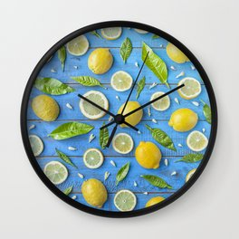 Fruits and leaves pattern (32) Wall Clock