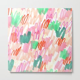 Abstract Pink Squiggle Pattern Metal Print