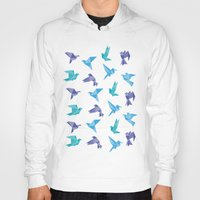 origami Hoodies featuring ORIGAMI BIRDS by austeja saffron