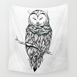 Poetic Snow Owl Wall Tapestry