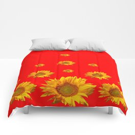 FLOATING GOLDEN YELLOW SUNFLOWERS RED COLOR Comforters