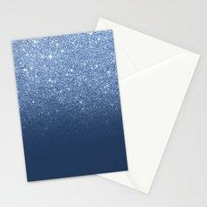Modern trendy navy peony faux glitter ombre pattern Stationery Cards