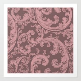 Retro Chic Swirl Bridal Rose Art Print