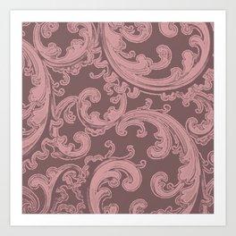 Retro Chic Swirl Bridal Rose Art Print