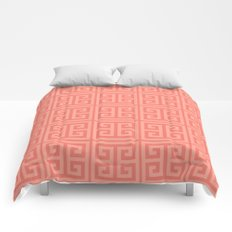 Rich Coral Greek Key Motif Comforters