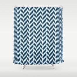Herringbone Navy Inverse Shower Curtain