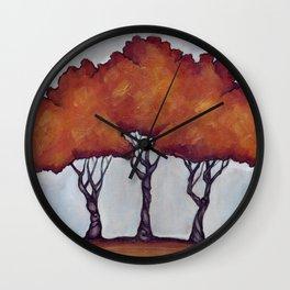 Fall Crepe Myrtles Wall Clock