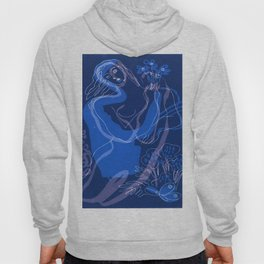 Blue Woman With Flowers Hoody